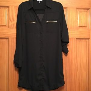 Express Portofino Black Shirt Dress